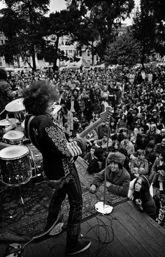 Jimi Hendrix performing onstage at a free concert in the Panhandle, San Francisco, June 19, 1967.