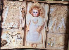 antique doll's presentation box   Antique doll in beautiful presentation box