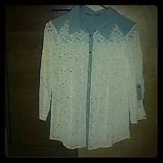Lace and Denim Button Up White lace and light blue denim button up shirt. Never worn. Size large. NY Collection Tops Button Down Shirts