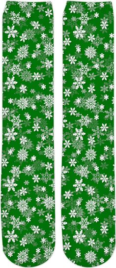 eb3af63c8 Festive Green and White Christmas Holiday Snowflake Knee High Socks