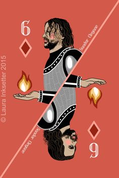 Sandor Clegane (6 of Diamonds) by Laura Inksetter. www.doubleportrait.etsy.com