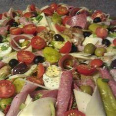 Antipasto Salad II Allrecipes.com- genoa salami, kalamata olives, pasta, artichoke hearts, tomatoes, etc. Very very good.