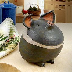 Americana Barnyard Pig Ceramic Sculpture at Modern Artisans