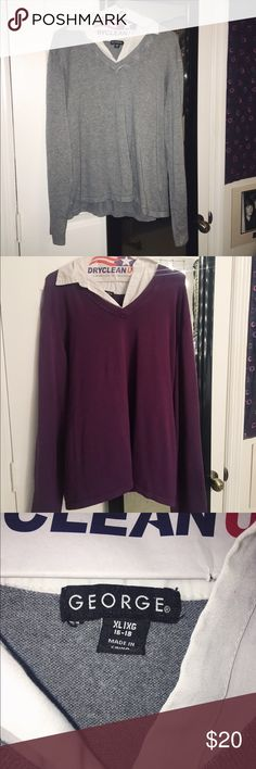 SET OF 2 COLLARED WORK SHIRTS Awesome condition collared shirts with sweaters attached! Comes in gray and deep purple. Only worn a few times. If you would like to purchase one and not the other just let me know so I can make a separate listing :) George Tops Blouses