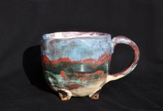 "Pinched ceramic mug ""Dusk at the sea"" by ArgilLina on Etsy"