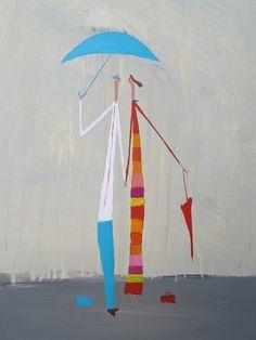 Felipe Gimenez Umbrella Painting, Parasols, Under My Umbrella, Singing In The Rain, Illustrations, Rainy Days, Doodles, Outdoor Decor, Bananas