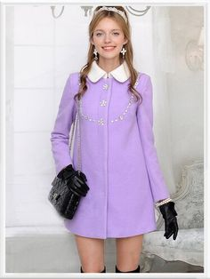 Casual Day Dresses, Girls Dresses, Basic Outfits, Cute Outfits, Kawaii Fashion, Girl Fashion, White Collar, Leather Gloves, Coat