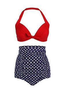 Dames Push-Up Halter Polyester Nylon Bikini Hoge taille Stippen Retro,Stip