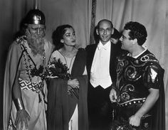 Maria Callas with Cesare Siepi, Fausto Clevaand Mario del Monaco after a performance of Norma at the Met (New York, 1956).