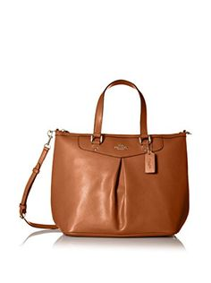 Women's Shoulder Bags - Coach Crossgrain Pleated Tote  Saddle -- For more information, visit image link.