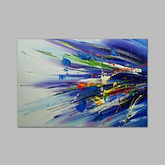 Ready+to+hang+Stretched+Hand-Painted+Oil+Painting+on+Canvas+Wall+Art+Abstract+Contempory+Blue+Green+One+Panel+–+USD+$+64.99