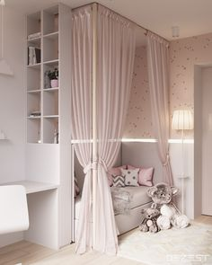 Room Decor Ideas Black - Contemporary Neutral Homes That Don& Need Bold Color To Wow. Drapes match walls and bedding. Lyddie's hangout space Girls Bedroom Colours, Child Bedroom Lighting Ideas Looks cool, isn't it? blush pink canopy little girl's room Dream Rooms, Dream Bedroom, Cute Room Decor, Girl Bedroom Designs, Design Bedroom, Bed Designs, Kids Room Design, Little Girl Rooms, Girl Kids Room