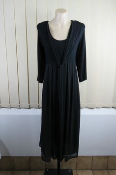 GOTHIC GOTH PEASANT Size XL 16 SUSSAN Ladies Black Dress Gypsy Edgy Business Cocktail Timeless Design Flattering