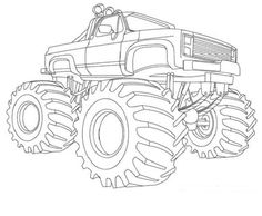 print coloring image monster trucks monsters and diy embroidery