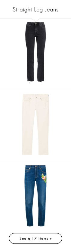 """""""Straight Leg Jeans"""" by random11-1 ❤ liked on Polyvore featuring jeans, pants, bottoms, trousers, dark grey, zipper jeans, frayed hem jeans, dark gray jeans, high-waisted jeans and low jeans"""