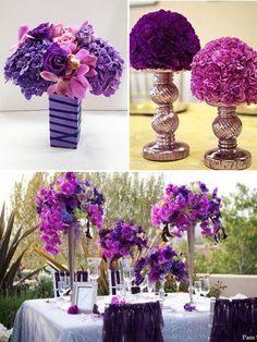 tall centerpieces for purple hurricanes