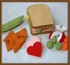 Wool Felt Play Food  Ham Sandwich Set by EvaLauryn on Etsy, $47.00
