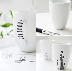 DIY drawing patterns for modern design with porcelain markers | revamp kitchenware