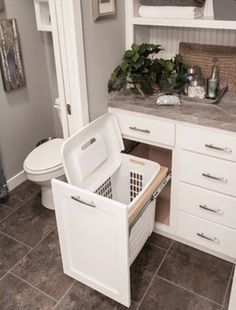 You are going to love these absolutely ingenious ideas and DIYs for bathroom.You are going to love these absolutely ingenious ideas and DIYs for bathroom organization and storage to help you create the most organized bathro. Bathroom Renos, Bathroom Interior, Modern Bathroom, Bathroom Cabinets, Bathroom Small, White Bathroom, Basement Bathroom, Bathroom Vanities, Peach Bathroom
