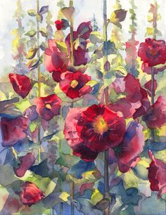 Very pretty watercolor of hollyhocks....