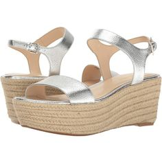 Nine West Flownder (Silver Metallic) Women's Shoes ($49) ❤ liked on Polyvore featuring shoes, sandals, wedge sandals, wedge espadrilles, high heel platform sandals, high heel shoes and platform espadrille sandals