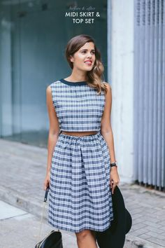 DIY crop top and midi skirt, made from old dress