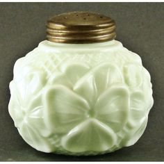 Consolidated glass co. | Consolidated Pansy, Six Opaque Green Glass Salt Shaker
