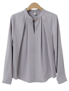 Plus Size Formal Gray Pleated Blusas Spring Women Casual Oversize Slim Blouse Tops 2018 Full Sleeve Ladies Blouses Light Gra Formal Blouses, Formal Shirts, Formal Tops For Women, Stylish Tops For Women, Mode Outfits, Fashion Outfits, Ladies Fashion, Fashion Ideas, Blouse Models