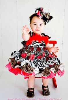 Pageant Valentine Animal print ruffle dress by KealeysBoutique, $48.00