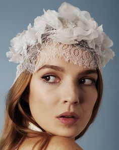 Jennifer Behr :: Forget-Me-Not Bonnet :: lace :: handmade silk flowers :: bridal :: wedding :: bride :: headpiece
