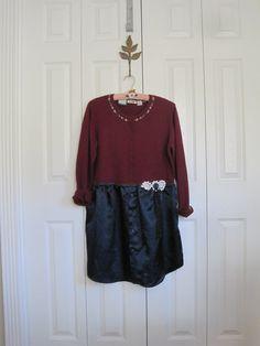 Boho dress rustic satin dress red sweater dress by ShabyVintage, $45.90
