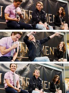 This weekend the Mortal Instruments: City of Bones Mall Tour Kicked Off. First stop: Mall of America. Kevin Zegers (to play Alec Lightwood), Jamie Campbell Bower (to play Jace Wayland), and Lily Collins (to play Clary Fray) all attended the event. (7/28/13)