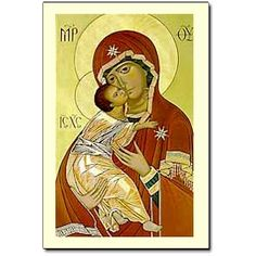 "This simple and elegant icon of the Virgin and Child is patterned after a very famous original, painted in 12th century Constantinople, and referred to by many names; ""The Virgin of Tenderness,"" ""The Soul of Russia,"" and most frequently, ""Our Lady of Vladimir."" The optional memorial of Our Lady under this title is celebrated on May 21."