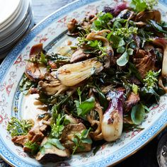 Warm Mushroom and Charred Onion Salad | Savory recipes from Food & Wine highlighting fall vegetables like butternut squash and pumpkin.