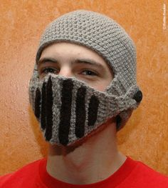 Crocheted Knight's Helmet Cap.....  Sssshhhh.... I wonder if this would keep them quiet?