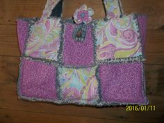 Rag Quilt Purse Tote Diaper Bag Shopping Bag upcycled denim by Prinilla on Etsy