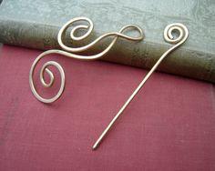 Brass Dancing Waves and Swirls Shawl Pin Hair by nicholasandfelice