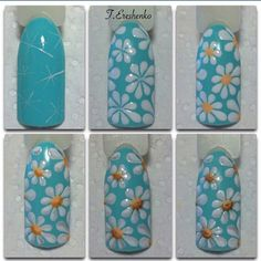 Make an original manicure for Valentine's Day - My Nails Floral Nail Art, Nail Art Diy, Diy Nails, Cute Nails, Fingernail Designs, Nail Art Designs, Nails Design, Spring Nails, Summer Nails