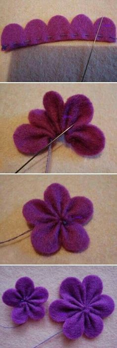 diy cute felt flowers purple clip tutorial with beads - headwear, felt flowers c. - diy cute felt flowers purple clip tutorial with beads - headwear, felt flowers c. diy cute felt flowers purple clip tutorial with beads - headwear, felt flowers crafts - L Cloth Flowers, Diy Flowers, Crochet Flowers, Paper Flowers, Fabric Crafts, Sewing Crafts, Sewing Projects, Diy Crafts, Felt Projects
