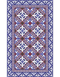 Tapis Vinyle - Flor de lis red and blue - Beija Flor