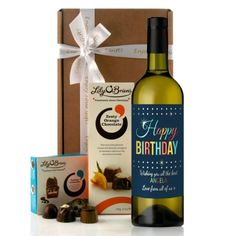 """A Perfect Birthday Wine Gift....this stunning """"Announcement"""" style wine label with retro colour letters """"Happy Birthday"""".  This gift can be personalised with any message over 2 lines, each line up to 40 characters together with the recipients name.  Any name can be included up to 15 characters."""