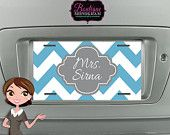 Monogrammed License Plate, Custom License Plate, personalized with your choice of colors and monogram