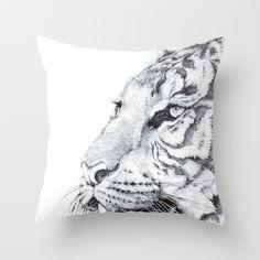 Tiger Throw Pillow by Kirsten Neil - $20.00
