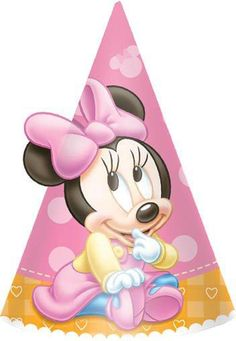 Accessorize your party guests' ensembles with our Birthday Minnie Mouse Party Hats! These cone-shaped party hats feature sweet baby Minnie Mouse against a pink polka dot background. Minnie Mouse 1st Birthday, Minnie Mouse Party, Mouse Parties, Mickey Party, Kid Parties, Mickey Mouse, 1st Birthday Party Favors, Birthday Ideas, Birthday Hats