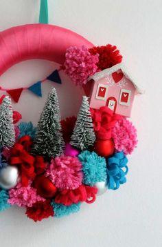 Green Christmas Wreath Pom Pom Wreath Christmas By