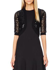 Sequined Open-Knit Shrug, Black  by Michael Kors at Neiman Marcus.