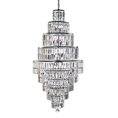 Empire is a spectacular, glittering 13 light tiered chandelier with stunning rectangular crystal prisms hanging symmetrically from a modern, chrome finish frame. Create a scintillating, jewellery-like effect with this impactful piece as the main feature i Crystal Ceiling Light, Ceiling Chandelier, Chandelier Pendant Lights, Iron Chandeliers, Ceiling Pendant, Pendant Lamp, Ceiling Lights, Candle Lamp, Candles
