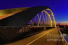 Night Frankfurt Bridge by Norma Brandsberg Germany Photography, Photography Photos, Art Prints For Sale, Fine Art Prints, Curved Lines, Art Sites, Frankfurt, Old Town, Beautiful Images