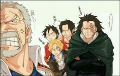 Garp, Dragon, Sabo, Ace et Luffy - One piece