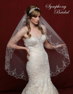 White, ivory or light gold!  Elaborate Beaded Scallop Wedding Veil Symphony Bridal 6802VL - Affordable Elegance Bridal -
